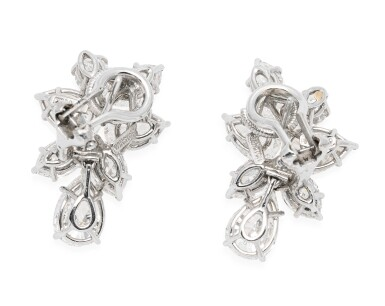 View 3. Thumbnail of Lot 32. HARRY WINSTON | PAIR OF DIAMOND EARCLIPS.