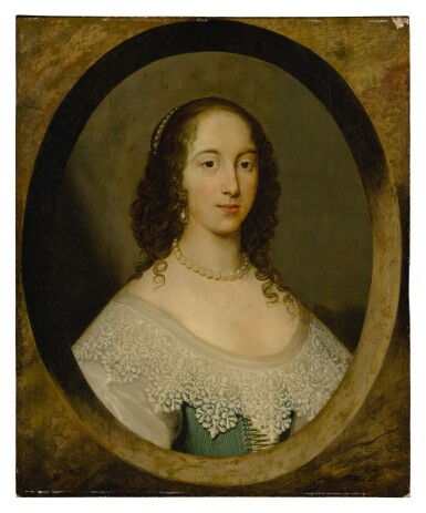 View 1. Thumbnail of Lot 632. Portrait of a lady, bust length, in a painted oval.