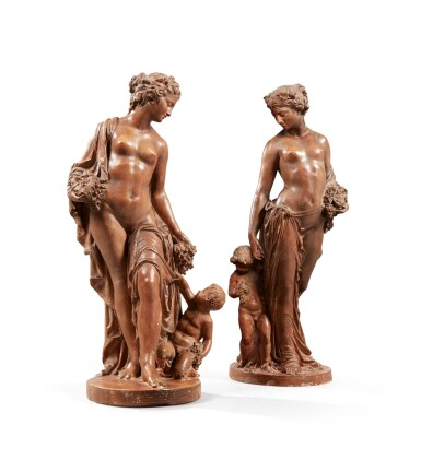 FRENCH, 19TH CENTURY | ALLEGORIES OF SPRING AND AUTUMN [FRANCE, XIXE SIÈCLE | ALLÉGORIES DU PRINTEMPS ET DE L'AUTOMNE]