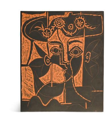 View 1. Thumbnail of Lot 56. PABLO PICASSO | GRANDE TÊTE DE FEMME AU CHAPEAU ORNÉ (A. R. 518).