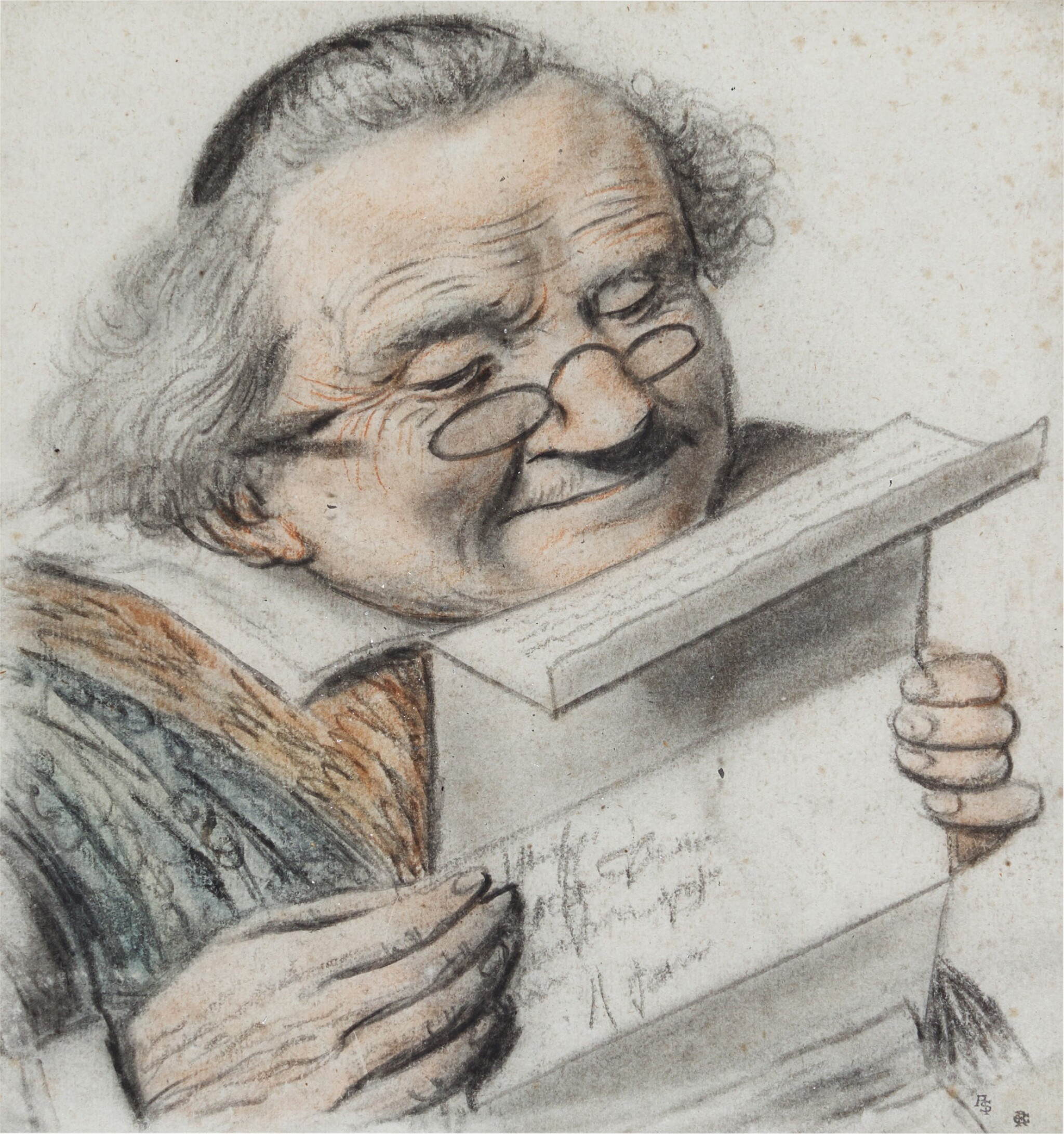 View 1 of Lot 21. A cleric reading a letter, wearing spectacles.