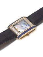 AUDEMARS PIGUET |  A YELLOW GOLD, DIAMOND AND SAPPHIRE-SET RECTANGULAR WRISTWATCH CIRCA 2000