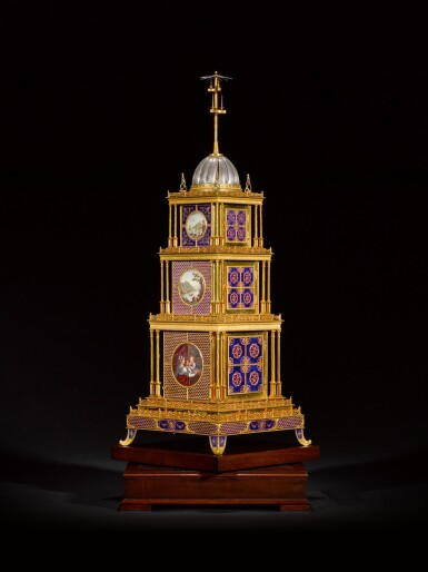 View 3. Thumbnail of Lot 16. John Mottram. A George III gilt-brass and enamel musical automaton clock for the Chinese market, London, circa 1790.