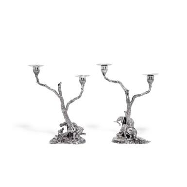 View 1. Thumbnail of Lot 102. A pair of silver two-light sculptural candelabra, Patrick Mavros, Zimbabwe, 1999.