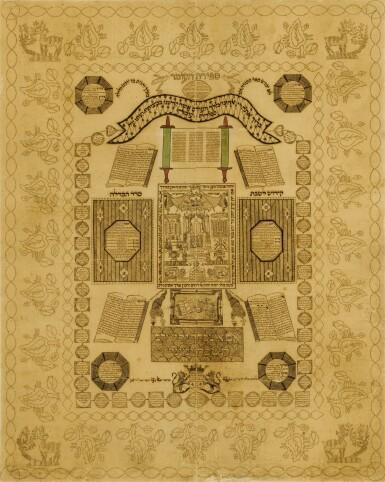 View 1. Thumbnail of Lot 173. A MAGNIFICENT MICROGRAPHIC OMER CALENDAR, ZEVI HIRSCH BEN DAVID, AMSTERDAM: 1830.