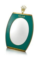 ROLEX | A GILT BRASS AND GREEN ENAMEL RETAILER'S DISPLAY MIRROR WITH WOODEN BACK, CIRCA 1960