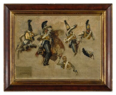 View 2. Thumbnail of Lot 34. FRANÇOIS SCHOMMER | STUDIES OF A RUSSIAN SOLDIER IN COMBAT DURING THE NAPOLEONIC WAR .
