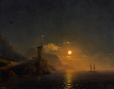 IVAN KONSTANTINOVICH AIVAZOVSKY |Chapel by the Coast on a Moonlit Night