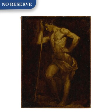 View 1. Thumbnail of Lot 505. Nude academic sketch of a man holding a staff, en brunaille.