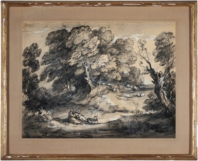 View 2. Thumbnail of Lot 85. Wooded Landscape with Cattle and Sheep at a Watering Place, and Rustic lovers.