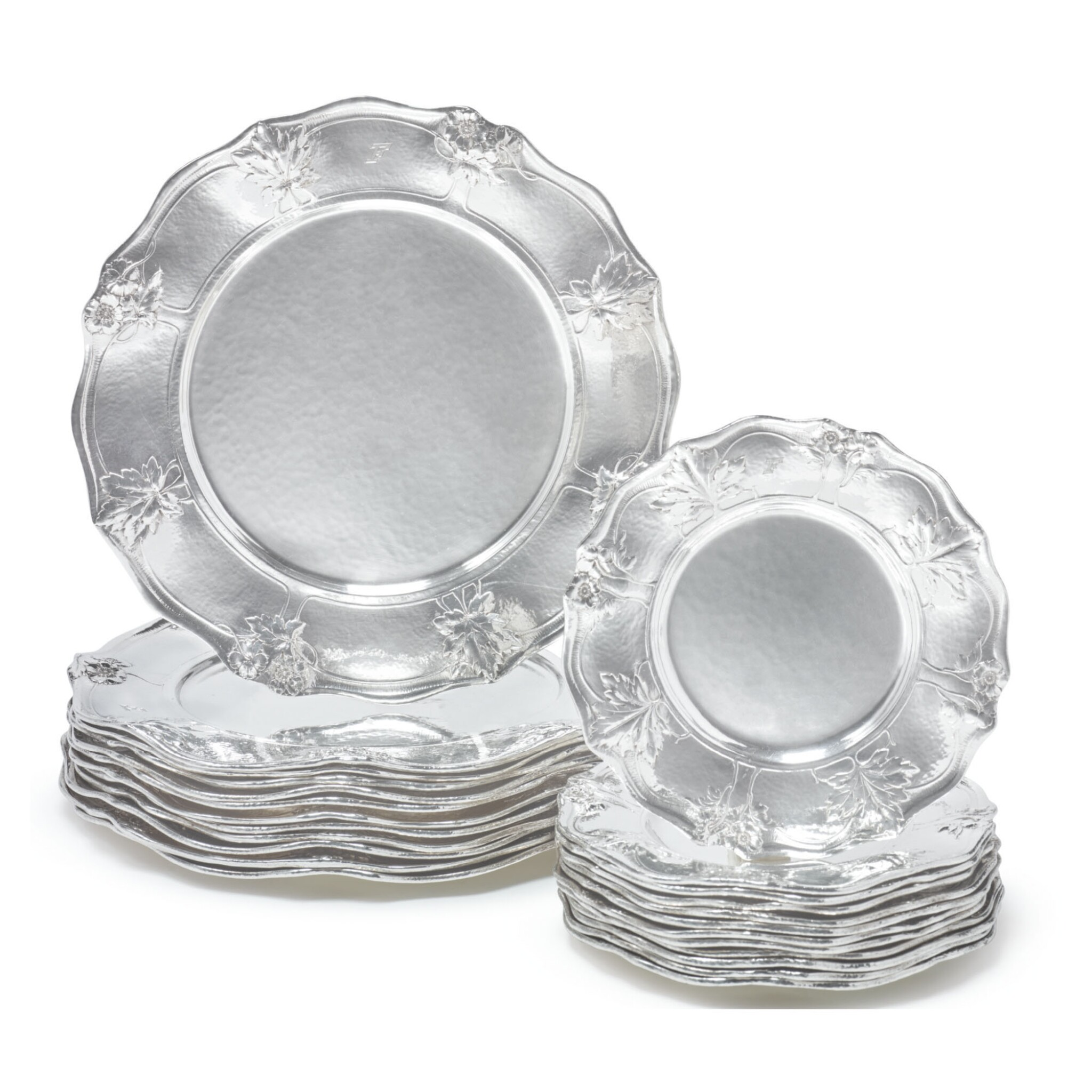 View full screen - View 1 of Lot 1833. A SET OF TWELVE AMERICAN SILVER DINNER AND TWELVE BREAD PLATES, MARTELÉ, GORHAM MFG. CO., PROVIDENCE, RI, 1909-1916.