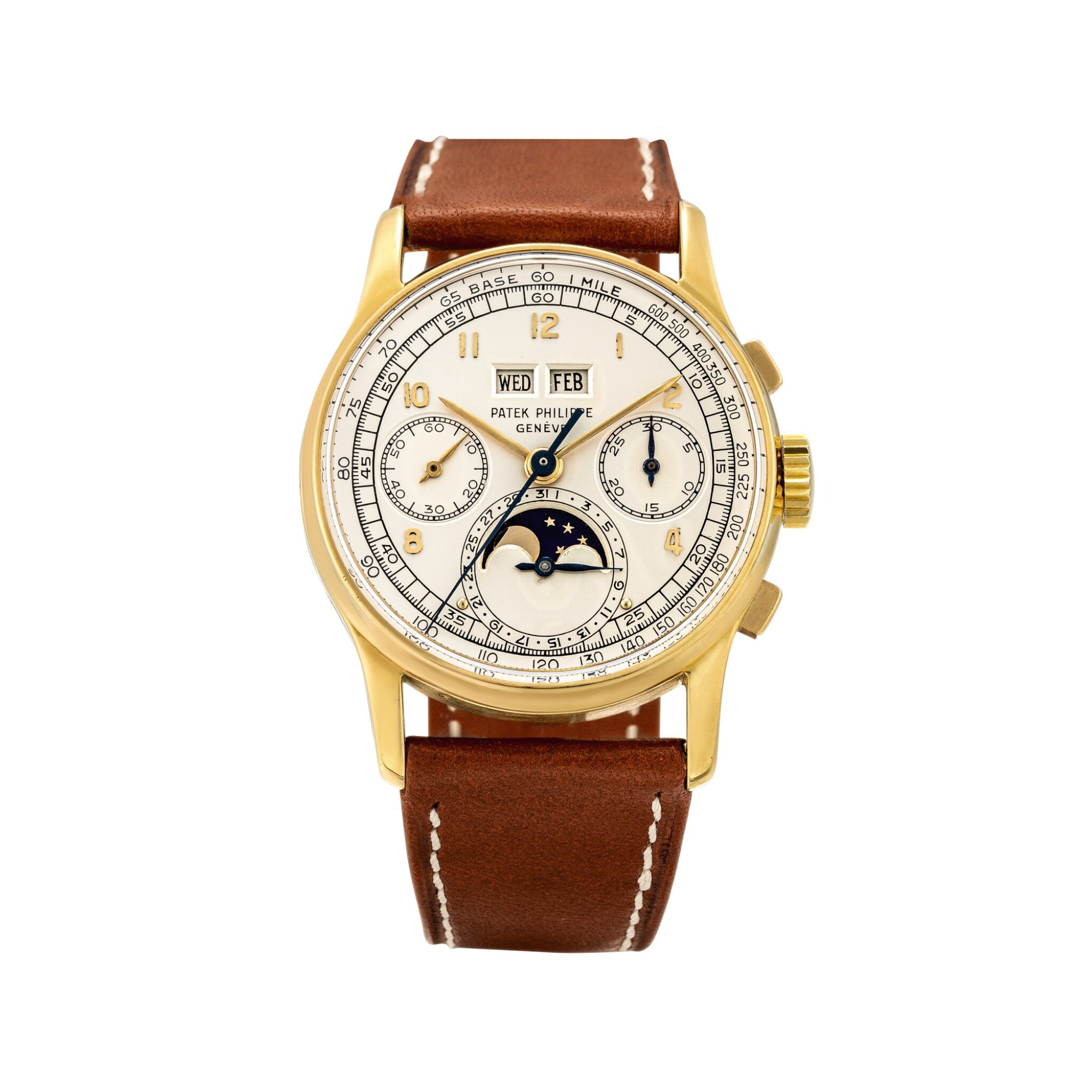 View full screen - View 1 of Lot 2263. Patek Philippe | Reference 1518, A highly exceptional yellow gold perpetual calendar chronograph wristwatch with moon phases and original box, Circa 1951 | 百達翡麗 | 型號1518 非常精美黃金萬年曆計時腕錶,備月相顯示,附帶原裝盒子,約1951年製.