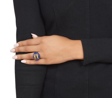 View 3. Thumbnail of Lot 368. Aldo Cipullo for Cartier   Gold and Lapis Lazuli Ring.