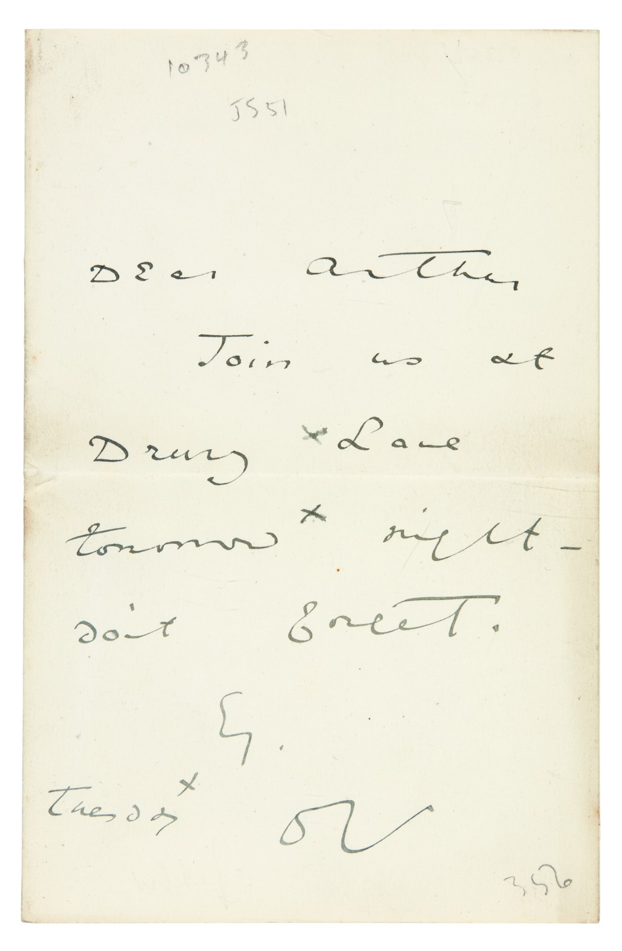 View full screen - View 1 of Lot 172. WILDE   autograph letter signed, to Arthur Clifton, n.d..