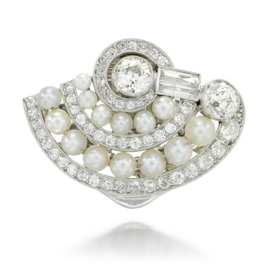 View 1. Thumbnail of Lot 44. DIAMOND AND PEARL CLIP BROOCH.