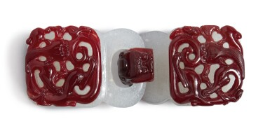 View 3. Thumbnail of Lot 1022.  A RED OVERLAY WHITE GLASS 'CHILONG' BELT BUCKLE,  QING DYNASTY, 18TH CENTURY.