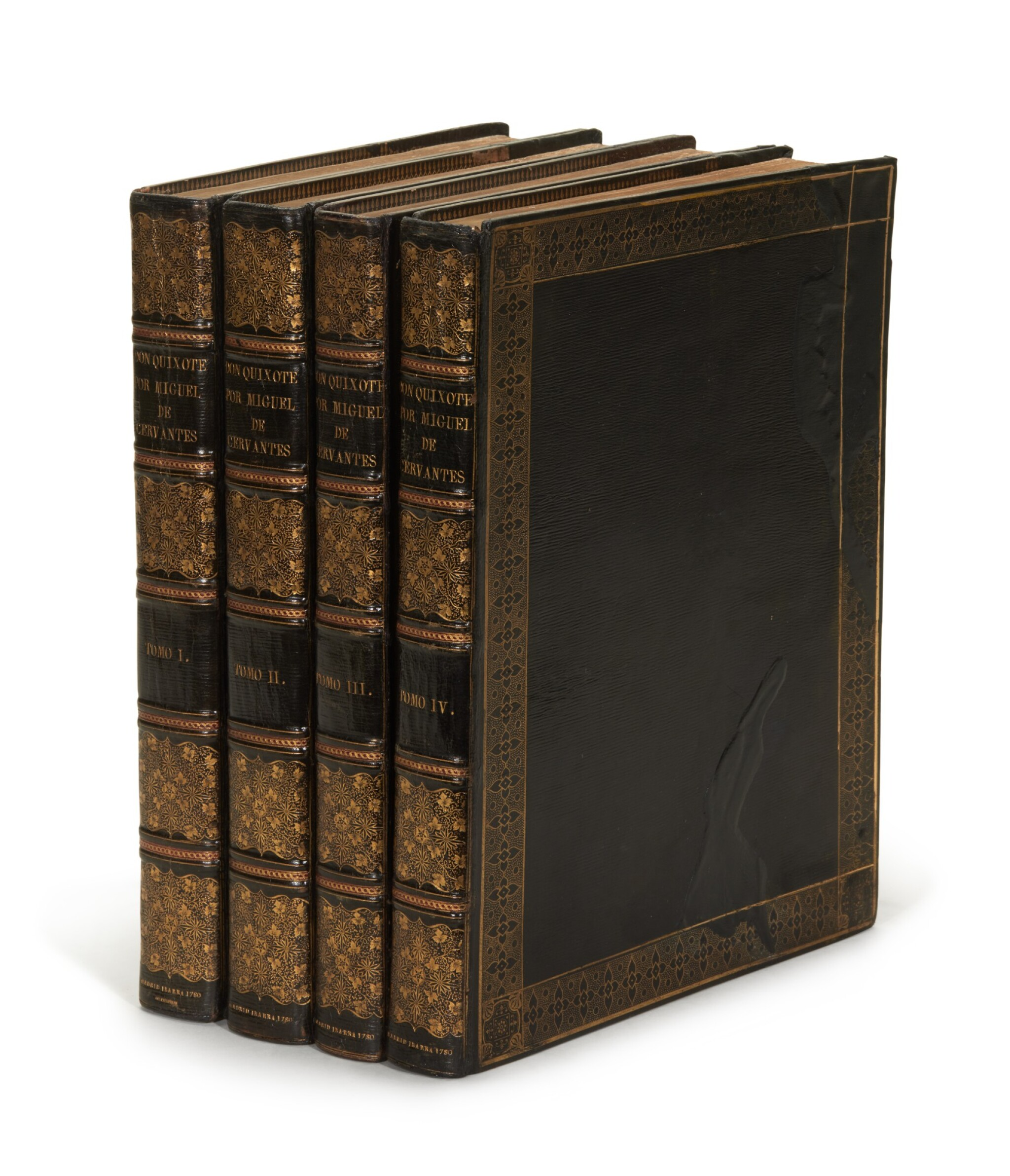 View full screen - View 1 of Lot 88. Cervantes, Don Quixote, Madrid, Ibarra, 1780, 4 volumes, navy morocco gilt by Bozérian.
