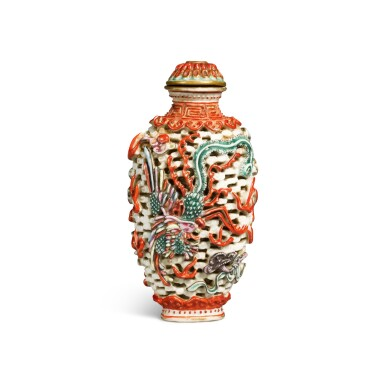 View 2. Thumbnail of Lot 65. A famille-rose molded and openwork 'dragon and phoenix' snuff bottle, Mark and period of Jiaqing | 清嘉慶 粉彩模印龍鳳紋鼻煙壺 《嘉慶年製》款.