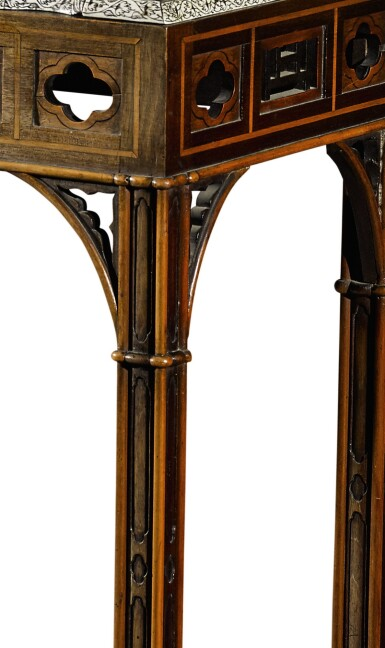 View 5. Thumbnail of Lot 246. An Anglo-Indian rosewood and ivory inlaid table bureau on a mahogany and fruitwood stand by Thomas Chippendale, the bureau, Vizagapatam, circa 1740-50, the stand, London, 1767.