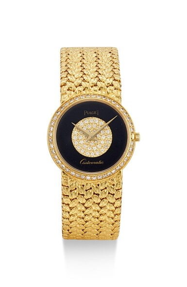 PIAGET   REFERENCE 50085 D 2, A YELLOW GOLD AND DIAMOND-SET BRACELET WATCH WITH ONYX DIAL, CIRCA 1970