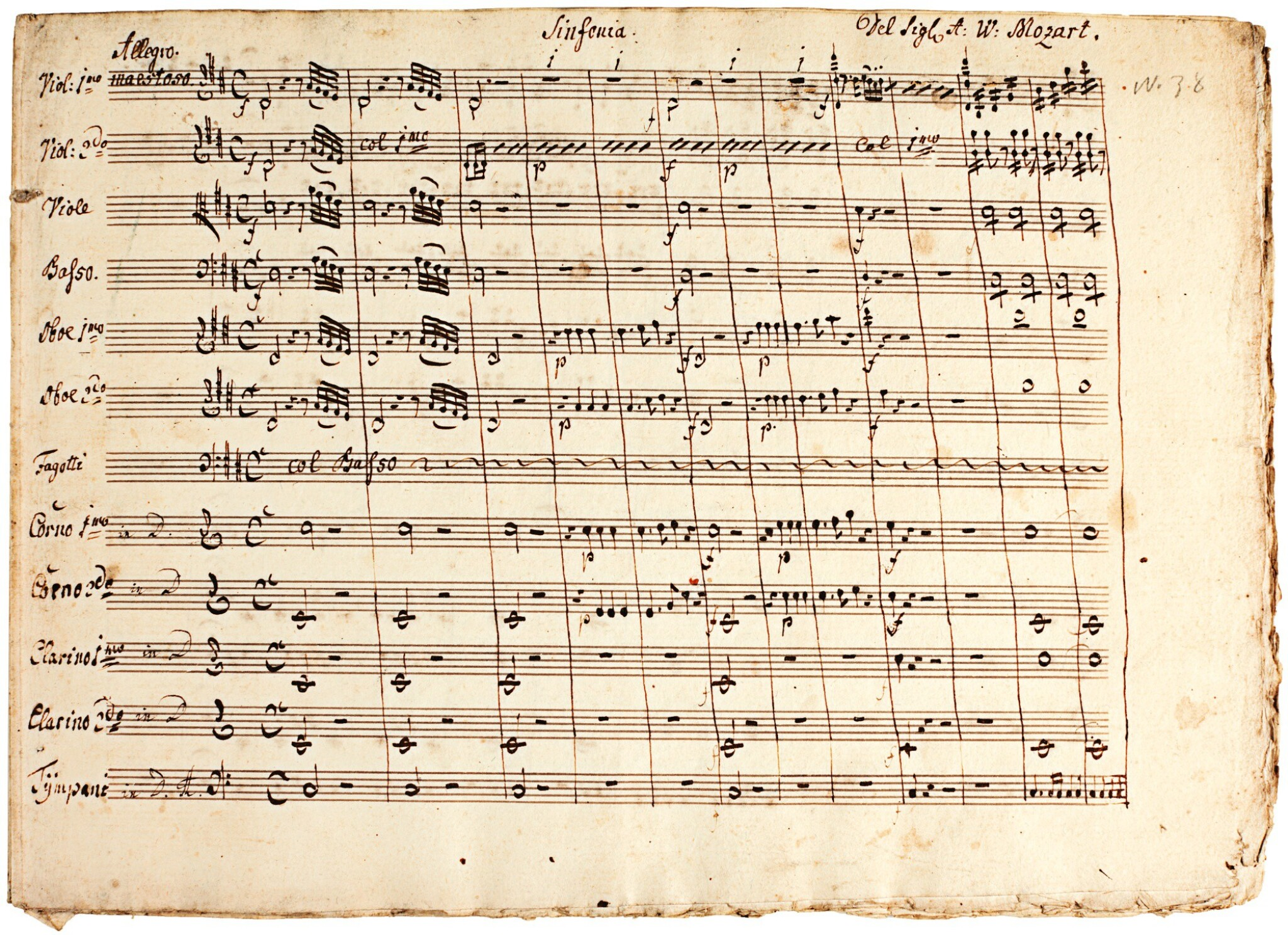 View full screen - View 1 of Lot 68. W. A. Mozart. Contemporary copy of the Symphony in D, arranged by the composer from the 'Haffner' Serenade.