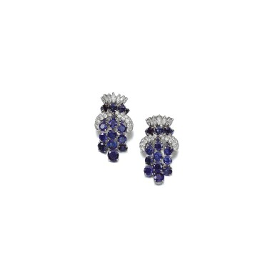 PAIR OF SAPPHIRE AND DIAMOND EAR CLIPS