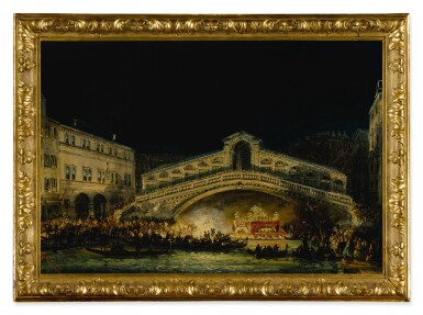 View 5. Thumbnail of Lot 667. A pair of nocturnal Venetian scenes on the Feast of the Redentore.
