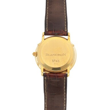 View 4. Thumbnail of Lot 67. Yellow gold perpetual calendar wristwatch with moon phases Circa 1995.