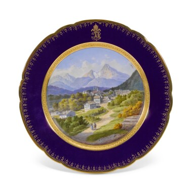 View 8. Thumbnail of Lot 106. An Imperial presentation set of twelve Hutschenreuther porcelain plates, circa 1890.
