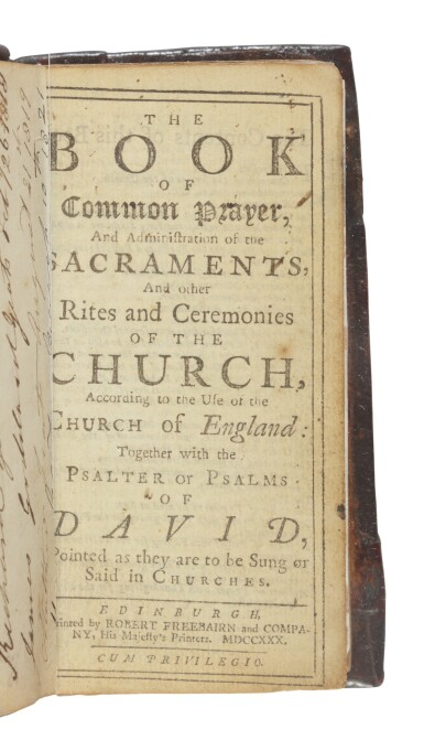 [YEATS, WILLIAM BUTLER, AND FAMILY] | The Book of Common Prayer, and Administration of the Sacraments, and Other Rites and Ceremonies of the Church, According to the Use of the Church of England. Together with the Psalter of Psalms of David. Printed as they are to be Sung or Said in Churches. Edinburgh: R. Freebairn, 1730