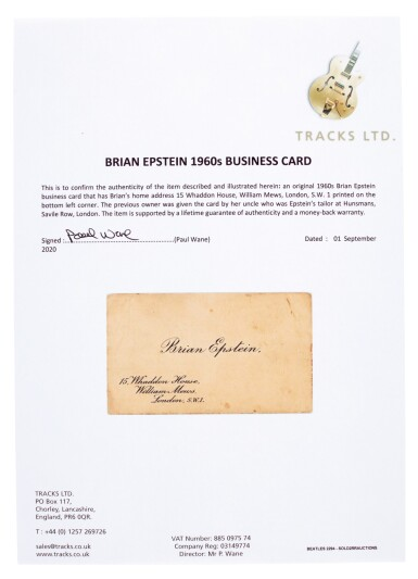 View 3. Thumbnail of Lot 37. BRIAN EPSTEIN   Business card, c.1964.