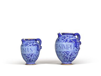 View 3. Thumbnail of Lot 6. Three Italian maiolica syrup jars, probably Montelupo or perhaps Venice, circa 1580 and circa 1620.