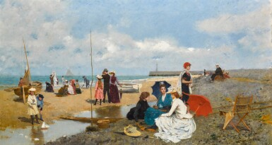 View 1. Thumbnail of Lot 34. Tarde en la Playa (An Afternoon on the Beach).