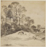 ATTRIBUTED TO GEORGE FROST | A woodland landscape with a church beyond