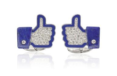 Pair of enamel, lapis lazuli and diamond cufflinks, 'I Like', Michele della Valle