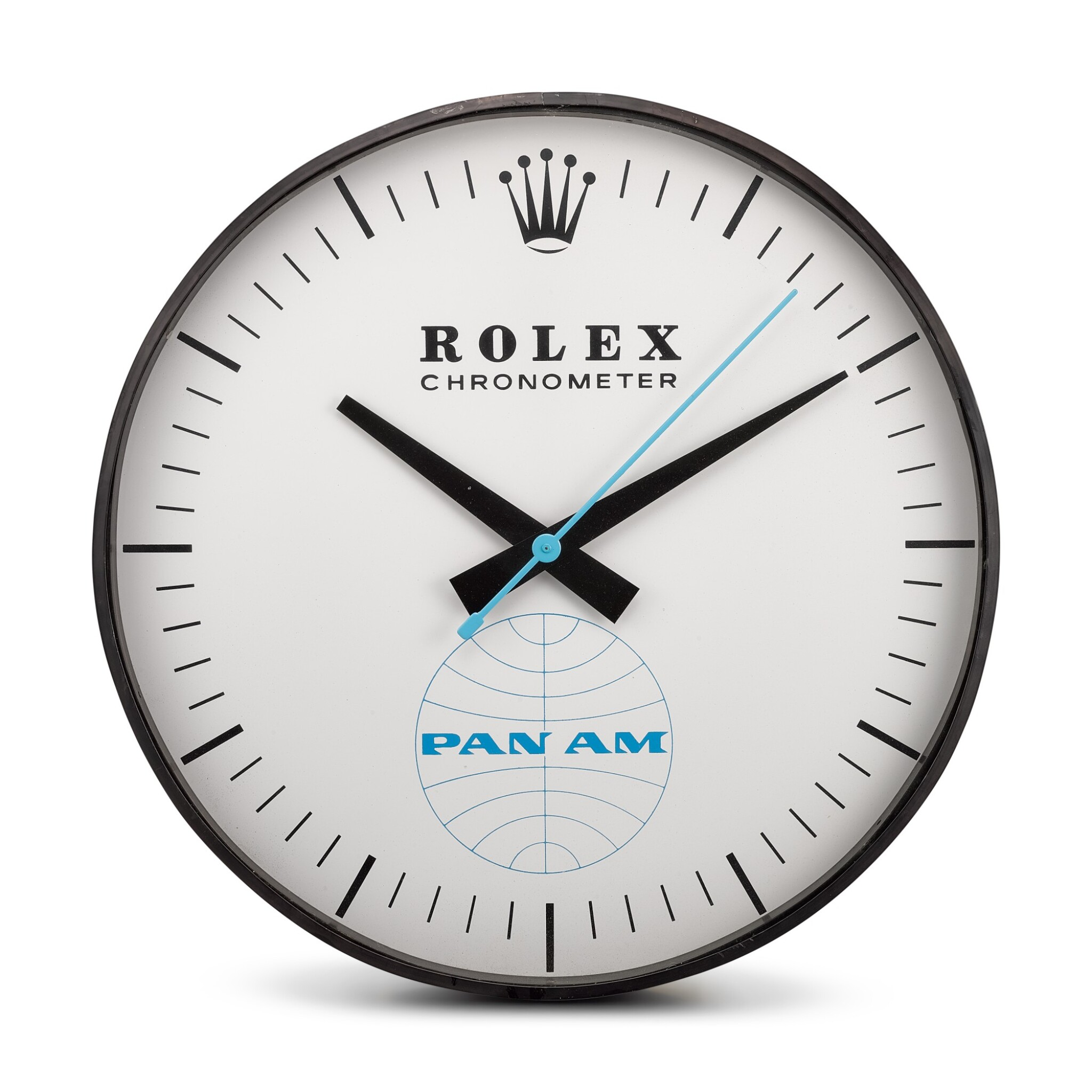 View full screen - View 1 of Lot 8136. HANDOVER MANUFACTURE INC FOR ROLEX | REFERENCE G-062, A LARGE BLACKENED METAL WALL CLOCK, MADE FOR PAN-AM AMERICAN AIRWAYS, CIRCA 1965.