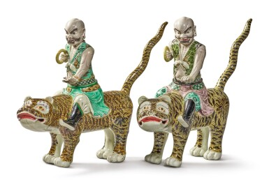 Two Extremely Rare Chinese Export Famille-verte Glazed Biscuit Figures of Luohan and Tigers, Qing Dynasty, Kangxi Period | 清康熙  素三彩伏虎羅漢兩尊