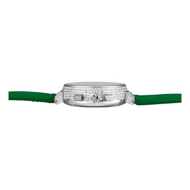 "View 2. Thumbnail of Lot 2242. LOUIS VUITTON | TAMBOUR, REFERENCE Q1E90   A BRAND NEW LIMITED EDITION WHITE GOLD, DIAMOND AND GREEN SAPPHIRE-SET CHRONOGRAPH WRISTWATCH WITH DATE, CIRCA 2019 "" | Louis Vuitton | Tambour 型號Q1E90 限量版白金鑲鑽石及寶石計時腕錶,備日期顯示,機芯編號209158,錶殼編號2/8,約2019年製""."