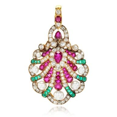 View 1. Thumbnail of Lot 7. Gem set, diamond and natural pearl pendant, late 19th century.