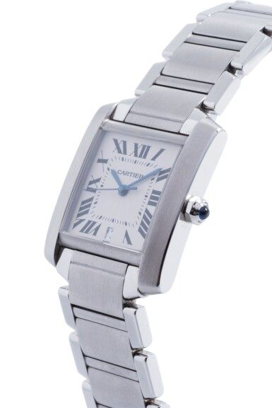 View 2. Thumbnail of Lot 18. CARTIER | TANK FRANCAISE, REF 2302 STAINLESS STEEL WRISTWATCH WITH DATE AND BRACELET CIRCA 2001.