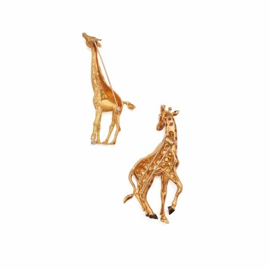 View 2. Thumbnail of Lot 323. Tiffany & Co. and Cartier   Two Gold and Gem-Set 'Giraffe' Brooches.