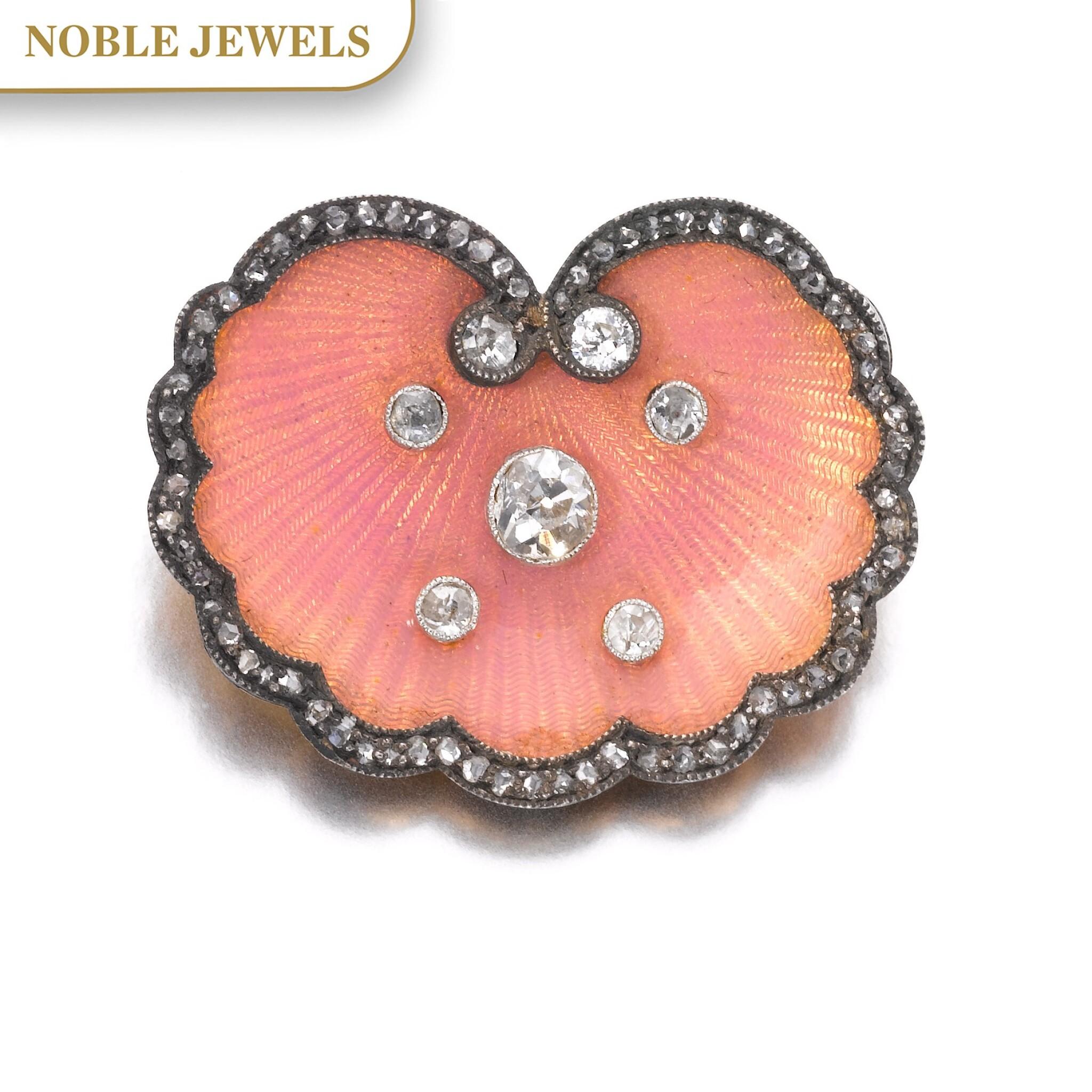 View full screen - View 1 of Lot 670. Enamel and diamond brooch, circa 1890 | 琺瑯配鑽石別針,約1890年.