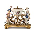 A PAIR OF MEISSEN FIGURES OF GARDENERS AND A BOWL MOUNTED IN GILT-BRONZE AS A POT POURRI, THE PORCELAIN, MID-18TH CENTURY, THE MOUNTS, PROBABLY 19TH CENTURY