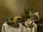 A still life with an overturned silver tazza, glassware, pies and a peeled lemon on a table |《靜物:桌上倒轉的銀製扁花瓶、玻璃器皿、餡餅和去皮檸檬》