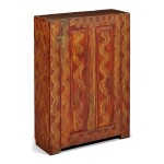 RARE RED AND YELLOW GRAIN-PAINTED YELLOW PINE CUPBOARD, PROBABLY TEXAS, CIRCA 1860