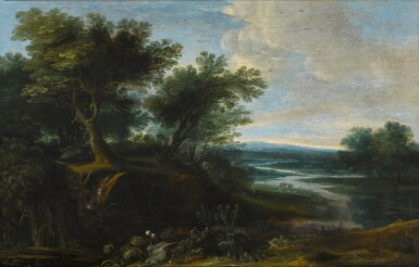 View 1. Thumbnail of Lot 27. Wooded landscape with a river and thistles.
