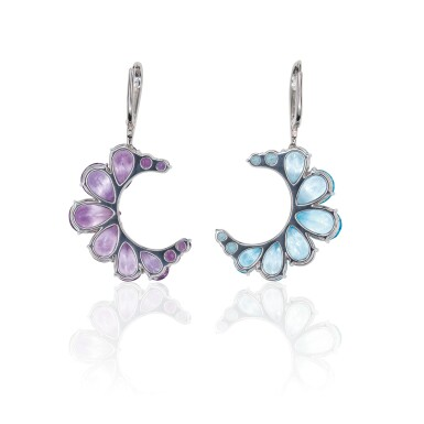 View 2. Thumbnail of Lot 14. PAIR OF AMETHYST, BLUE TOPAZ AND DIAMOND EARRINGS, MICHELE DELLA VALLE.