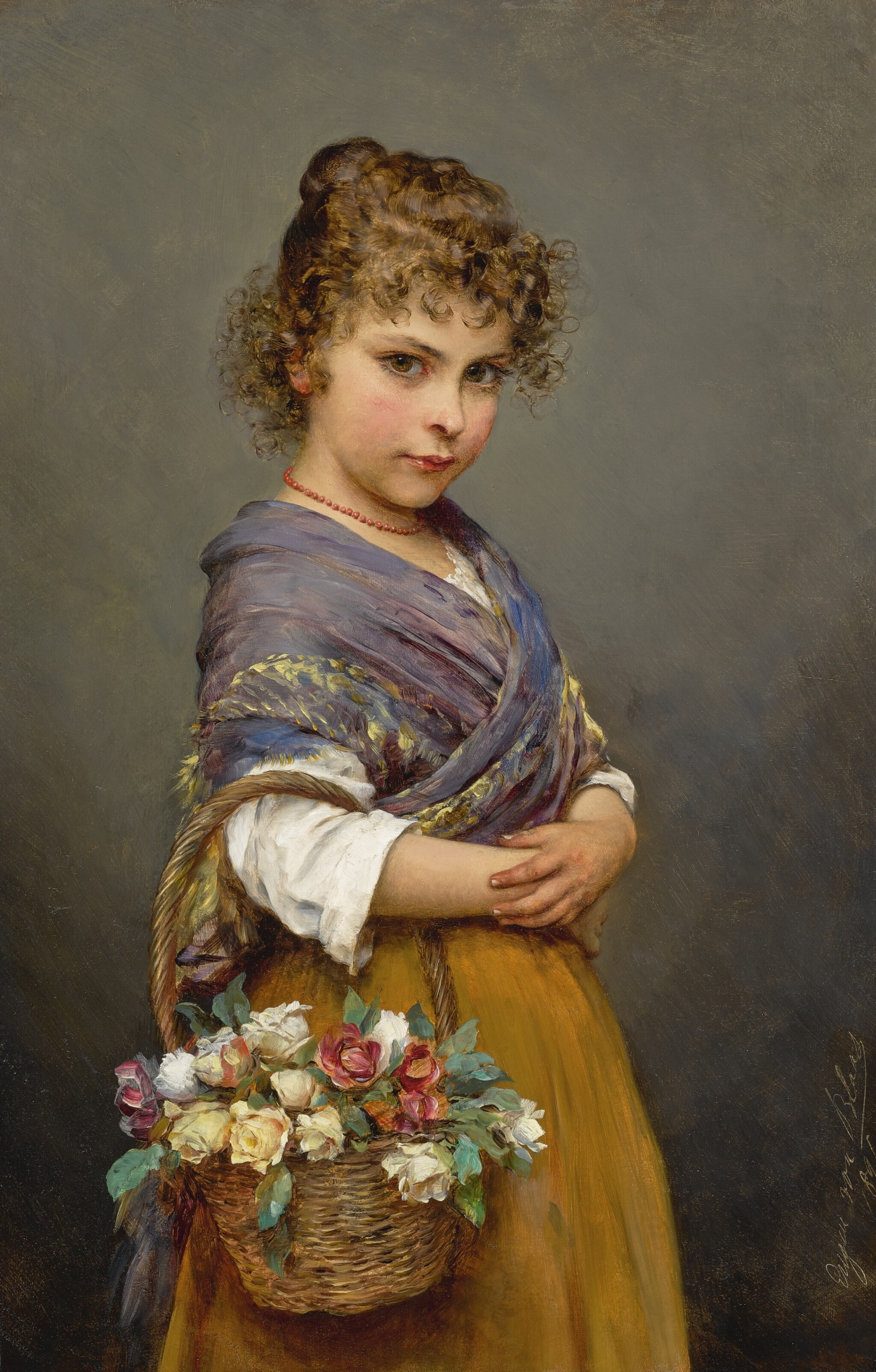 View full screen - View 1 of Lot 782. Eugen von Blaas | YOUNG GIRL WITH A BASKET OF FLOWERS.