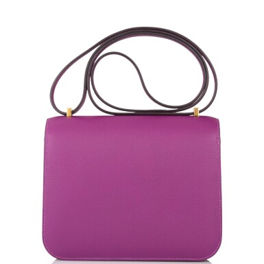 View 4. Thumbnail of Lot 21. Hermès Anemone Constance 18cm of Evercolor Leather with Gold Hardware.