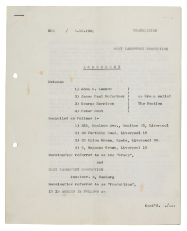 View 5. Thumbnail of Lot 168. The Beatles, signed management contract with Brian Epstein, 24 January 1962.